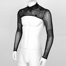 Men's Sexy See-Through Half Crop Tops Mesh O-Ring T-Shirt Party Stage Clubwear