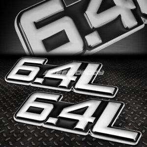 2X METAL BUMPER TRUNK GRILL FENDER EMBLEM DECAL BADGE CHROME BLACK 6.4 6.4L V8