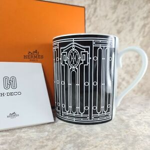 Hermes Paris Mug Cup Porcelain H DECO Black Ornament Authentic w/ Case (NEW)