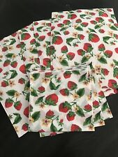 Vintage New 4 Piece STRAWBERRY Placemat w 4 cloth napkins strawberry kitchen