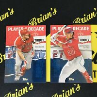 2020 Topps Series 2 Mike Trout Insert 2 Card Lot  Blue Parallel + Base MT-22,18