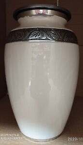 White Silver Cremation Urn Adult Urn for Ashes Large Memorial Urn REDUCED FAULTY