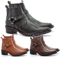 New Mens Western Cowboy Ankle Boots Cuban Heel Slip On Harness Biker Shoes 7-12