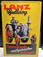 LANZ BULLDOG TRACTOR :EMBOSSED(3D) METAL ADVERTISING SIGN 30x20cm GERMAN