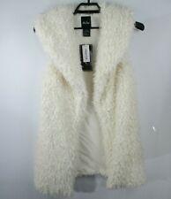Me Jane Faux Fur Vest Womens Sz L Long Soft Lined Off White Open Front NWT