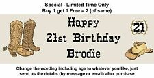 Birthday Party Banner Sign Poster Personalised any age - COWBOY WESTERN THEME