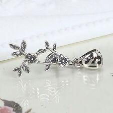 Art Nouveau 925 Sterling Silver Flower Leaf Women Pendant Clip Clasp Elegant