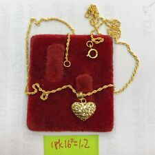 Gold Authentic 18k saudi gold heart necklace 16 inches chain