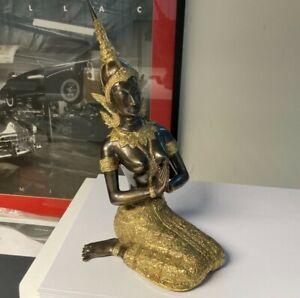 Large Buddha Goddess Praying Kneeling Figure with Headdress 14in x 7in x 4in