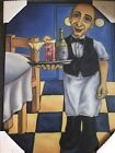 """Sommelier Wine Waiter ART EMILE by WILL RAFUSE Art Plaque Wall Decor 24"""" x 17.5"""""""