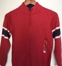 NWT OshKosh B'Gosh Boys Red Navy Blue 1/4 Zip Pullover Sweater Size 8