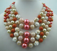 Vintage PINK Five 5 Multi Strand Lucite Pearl Peach Iridescent Bead Necklace