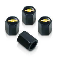 Chevrolet Solid Gold Logo Black Tire Stem Valve Caps