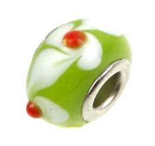 Lampwork Handmade Bead Big Hole Fit Bracelet Charm Green White flower