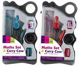 Colour Stationery  Math School Set Stationary Maths In Plastic Carry Box Case