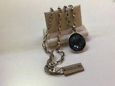 NWT Uno de 50 Silver-plated Statement Chain Necklace/Blue Swarovski Crystal