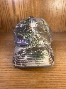 Cabela's Camo Hat Cap Pink Emblem Womens Girls Osfm  Hool And Loop