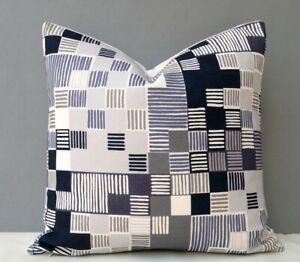 Imogen Heath Designer Cushion Cover Geometric Design in Shades of Grey & Cream