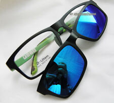 Men Eyeglass frame magnetic Clip on polarized sunglasses Black/mirror blue 54-18