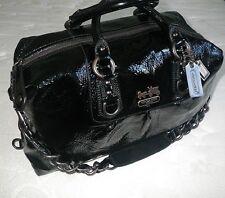 COACH Ltd Ed BLACK CRINKLE PATENT LG MADISON SABRINA PURSE BAG TOTE SATCHEL EUC
