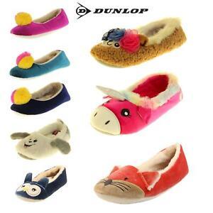 Womens DUNLOP Winter Comfy Warm Light Ballerina Ballet Slippers Size 3 4 5 6 7 8