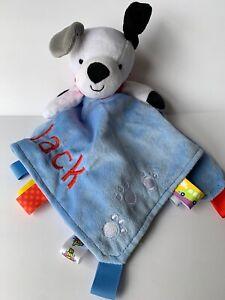 Taggies Lovey Blue Puppy Dog Baby Blanket Security Paw Prints JACK Monogram