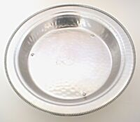 Vintage BW Buenilum Serving Bowl Round Hammered Aluminum Footed Platter Tray