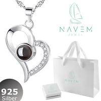 925 Silber Damen Halskette Herz Ich liebe dich Schmuck 100Sprachen Geschenk Set