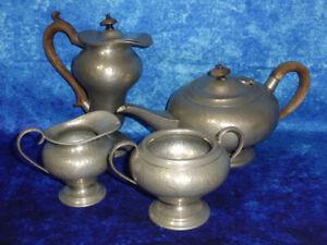 Vintage HAMMERED PEWTER TEA SET Teapot, Milk Pourer, Sugar Bowl, Hot Water Jug