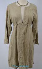 Mimi Maternity khaki linen dress chic Basic essential tie back waist SIZE L NEW