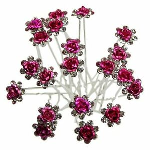 10 Deep Rose Pink Rhinestone Flower Wedding Bridal Hair Pins Accessories Party