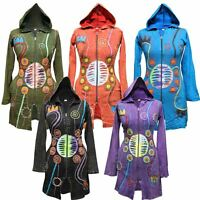 Embroidered Goth Vintage Cardigan Sweater Faded Hippy Festival Hoody Long Jacket