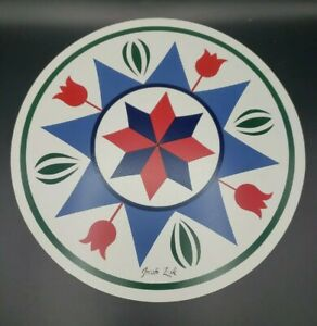 "Jacob Zook Hex Sign Pennsylvania Dutch Amish Fertility Tulips 12"" Round Vintage"
