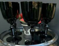 Vintage French Portieux Vallerysthal Glass Black Opaline Drinking Glasses Six