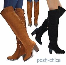 New Women T10C Black Tan Lace Up Over Knee Thigh High Heel Riding Boot 6 to 10