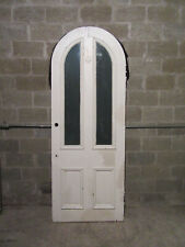 ~ Unique Antique Door Arched Circle Top With Etched Glass ~ 36 X 95 ~ Salvage ~