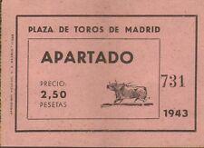 MADRID PLAZA DE TOROS TICKET N° 732 CORRIDA NOVILLOS 1943