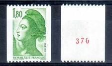 Roulette N° ROUGE. LIBERTÉ 1,80F vert. ref. 2378a. cote 2,00€