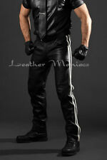 Jean en cuir avec blanc rayures pantalon en cuir taille basse