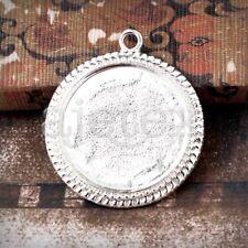6pcs Antique Brass Craft Pendant Bracelet Jewelry Round 35.5x31x3mm