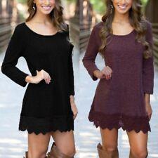 34-48 Damen Boho Langarm Spitze Crochet Floral Shirt Dress Pullover Tops Shirt