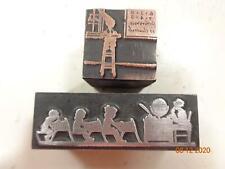 Printing Letterpress Printer Block Vintage School Room & Dunce Cap Print Cut