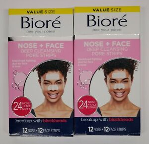 2 Biore Combo Deep Cleansing Pore Strips 24 Nose & 24 Face (48) Total