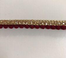 Atractivo indio Granate Pom Pom Encaje con trenza de oro y cristal Recortar/Encaje uno Mtr