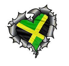HEART Shape Carbon Fibre Fiber Ripped Metal & Jamaica Jamaican Flag car sticker