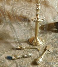 Miniature Dollhouse Brass set of Fireplace Tools Brand New Realistic