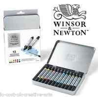 WINSOR & NEWTON 12 ARTIST WATER COLOUR PAINT MARKER TWIN-TIP PEN TIN SET