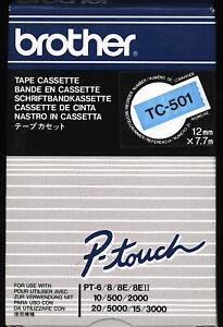1x BROTHER TC-501 P-touch 12mm Farbband BLACK / BLUE für PT-6/8/10/500