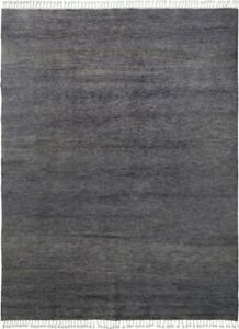 Contemporary Gray Solid Moroccan Area Rug Hand-Made Oriental Modern Carpet 8x10