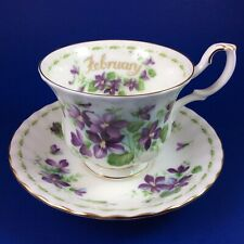 Royal Albert Violets - Flower Of The Month - Bone China Tea Cup And Saucer